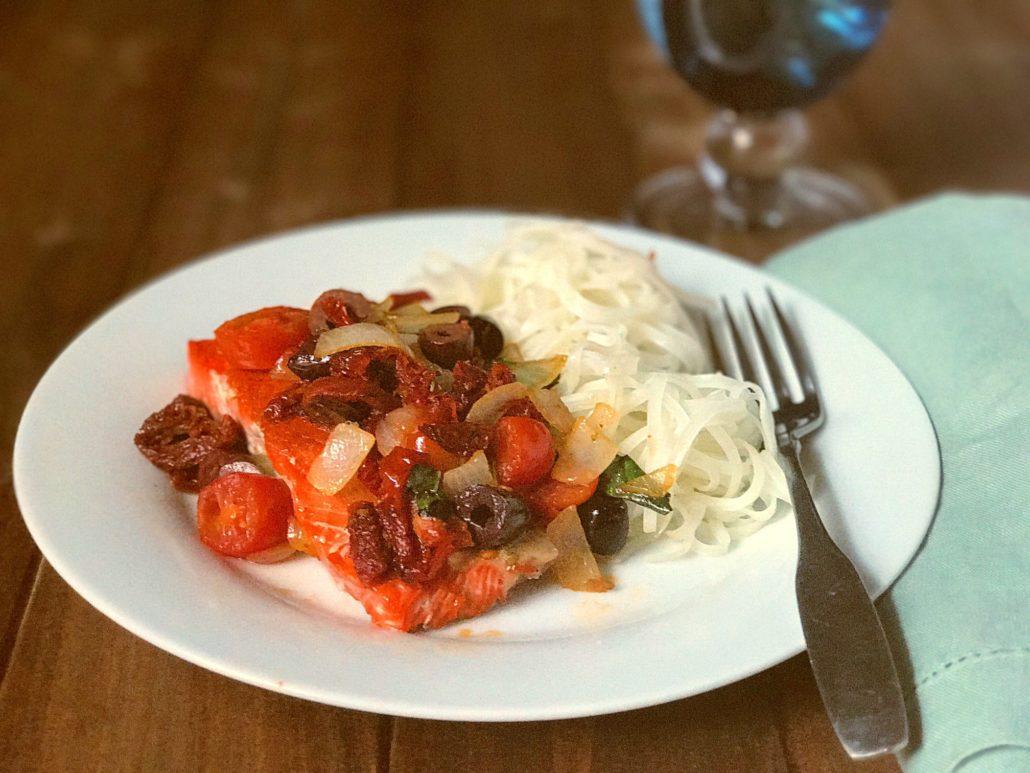 seared salmon with tomato basil pesto recipe