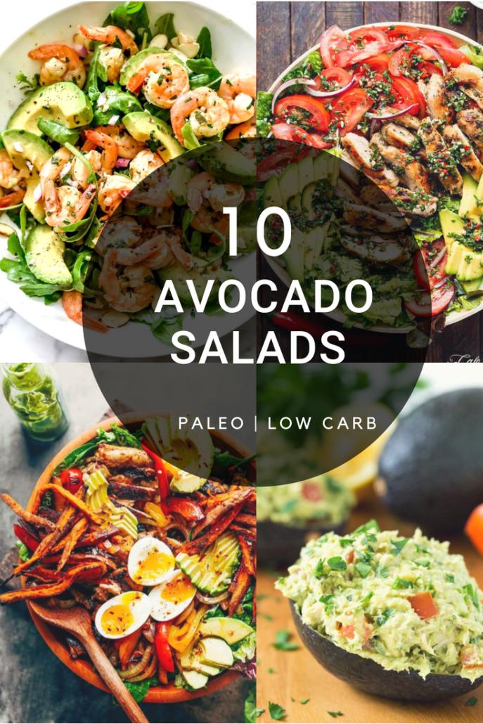 collage of 4 photos of avocado salads