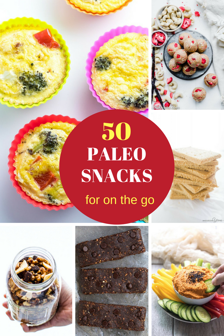 a collage of paleo snacks
