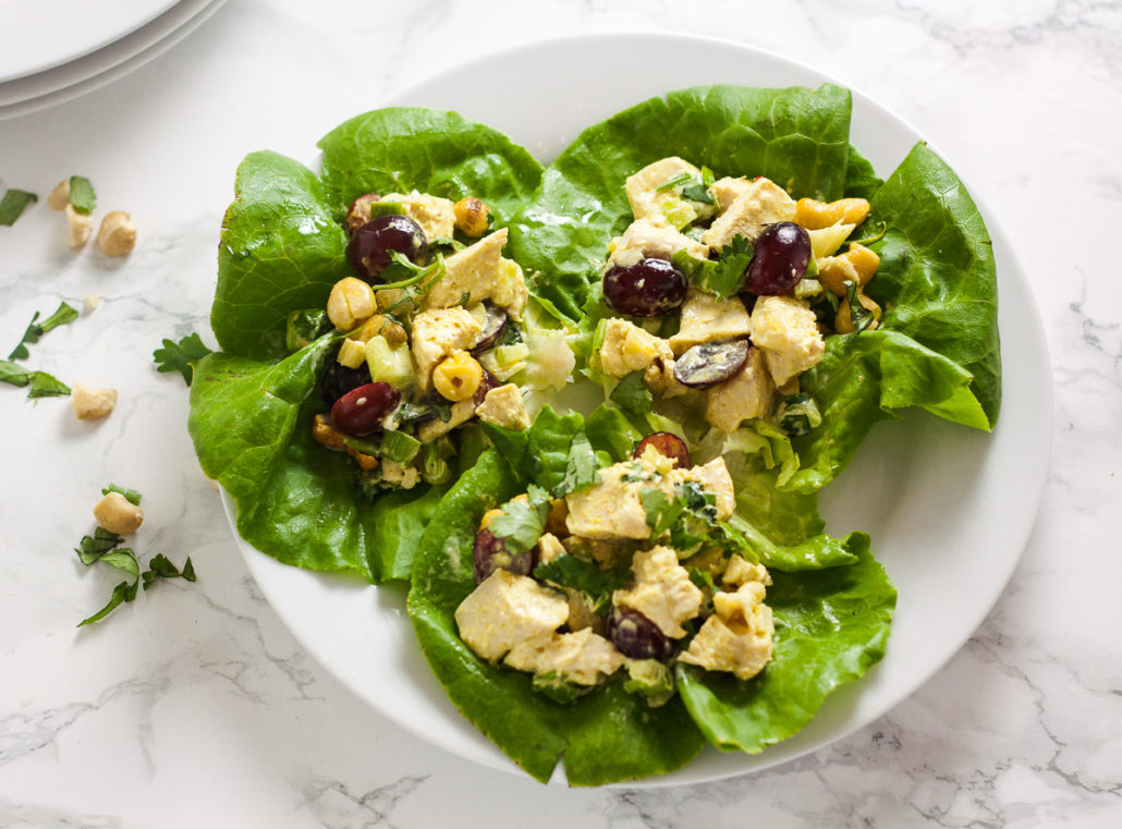 curry chicken lettuce wraps on white plate