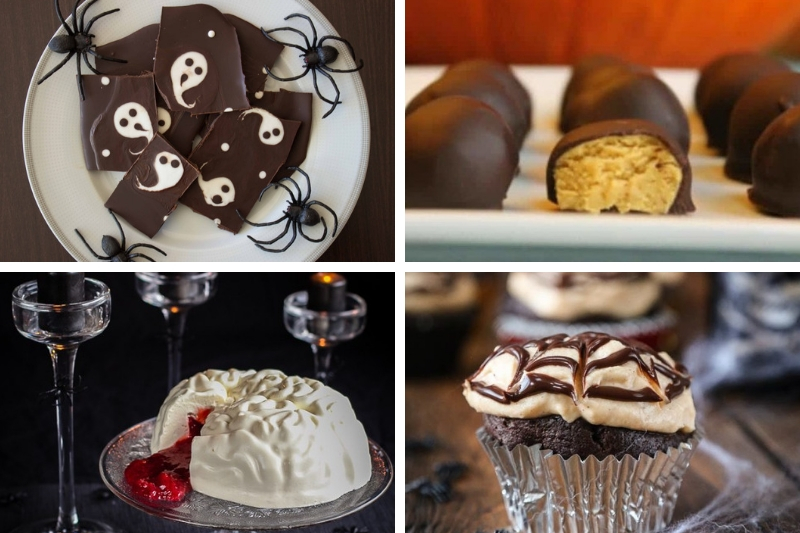 Halloween collage of ketogenic halloween sweet treats
